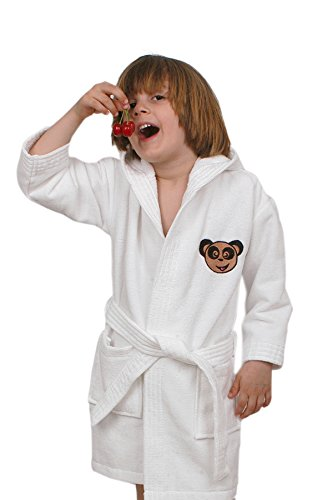 Soft & Softly 100% Turkish Cotton Kids Bathrobe with Embroidered (White, Extra Large)