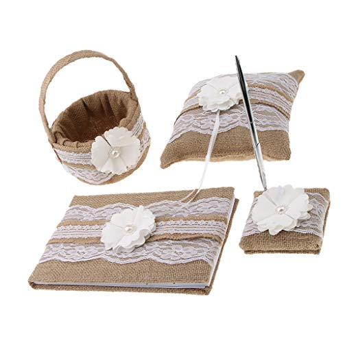 Fityle Rustic Burlap Wedding Flower Girl Basket & Ring Pillow, Guest Book & Pen Holder Set, Pack of 4