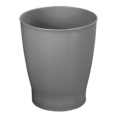 mDesign Slim Round Plastic Small Trash Can Wastebasket, Garbage Container Bin for Bathrooms, Powder Rooms, Kitchens, Home Offices, Kids Rooms - Slate by mDesign