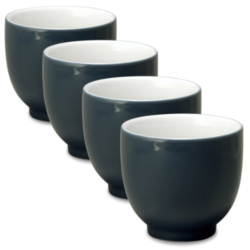 - FORLIFE Q Tea Cup (Set of 4), 7 oz, Black Graphite