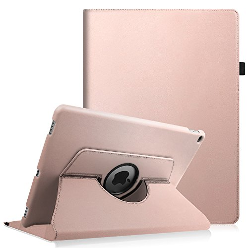 Fintie iPad Pro 12.9 Case - 360 Degree Rotating Stand Case with Smart Cover Auto Sleep / Wake Feature for Apple 12.9-inch iPad Pro (2015 Version), Rose Gold