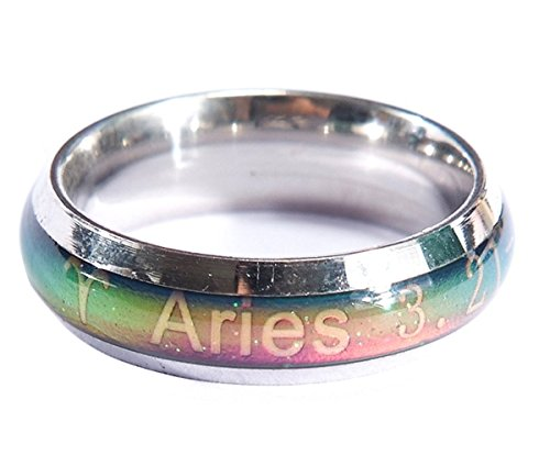 Acchen Mood Rings 12 Constellation Changing Color Emotion Feeling Finger Ring with Box (Aries)
