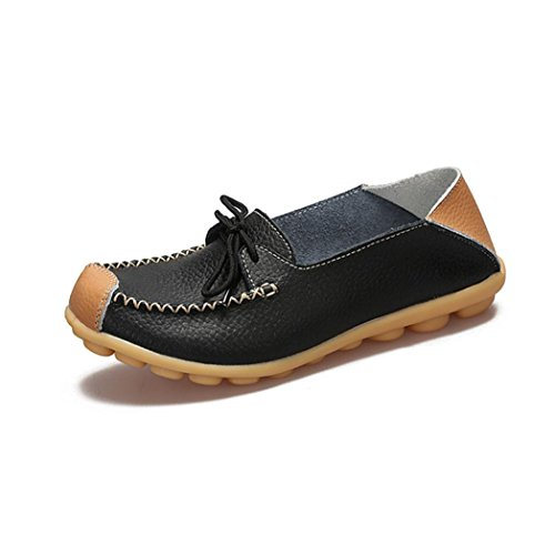 RUNERTOP Classic Ladies Women Casual Bowknot Flat Breathable Soft Bottom Wild Leisure Peas Boat Shoes Comfortable Black 8crNqccW4