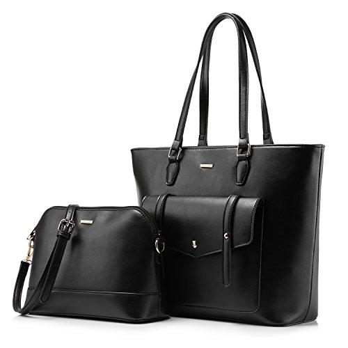 Women Top Handle Satchel Handbags Shoulder Bag Tote Purse Set Shell Bag Travel Bag 2 Pieces -