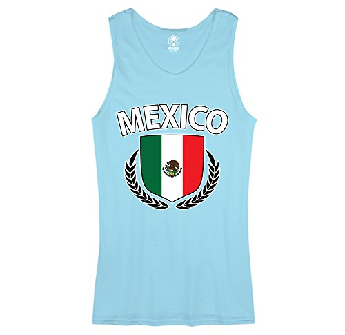 Mexico Flag Creat Olive Wreath Laurel Mexican Pride Mens Tank Top (Large Pool) - Top Pool Apparel