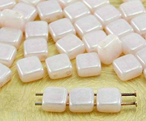 Czech Glass Square Beads - 40pcs Rose Valentine Pink Luster Czech Tile Two 2 Hole Square Glass Beads Flat 6 mm