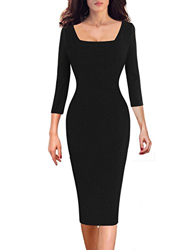 VfEmage Womens Elegant Square Neck Casual Wear To Work Office Sheath Dress 8601 Blk 14