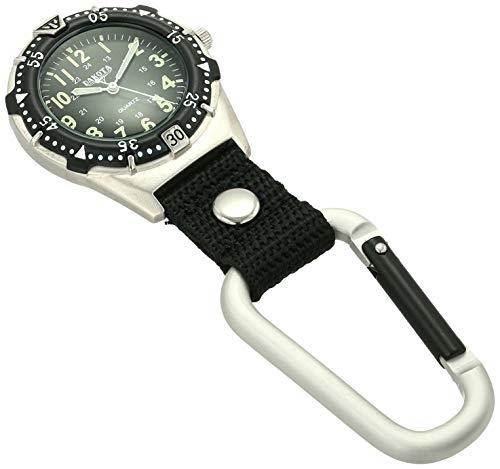 Dakota 2844-4 Men's Aluminum Backpacker Clip Watch, Black