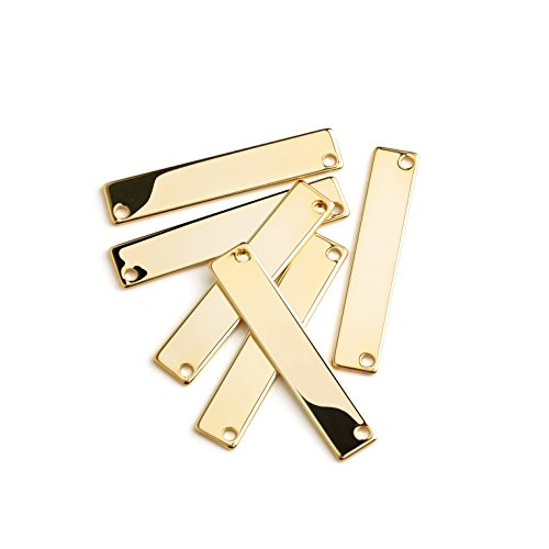 Gold Polished Nameplate - 4 Pieces - 16K Gold Plated Stamping Blank Bar Horizontal Pendant Name Plate Jewelry Supply Craft Supplies 1.35