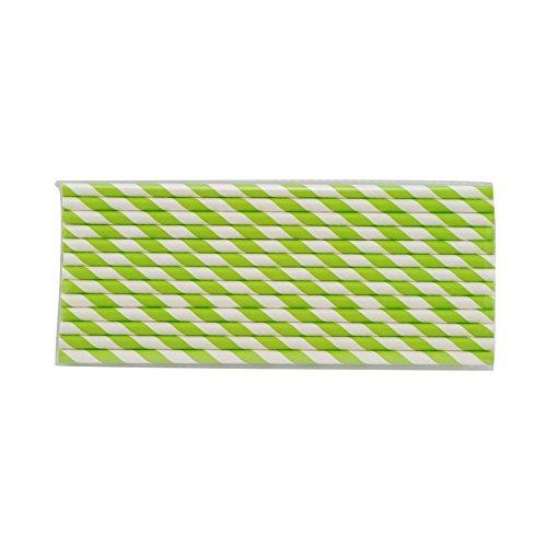 denshine 25pièces réutilisable l'environnement Papier rayé Parti potable Pailles Motif à rayures Vert