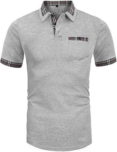 - Daupanzees Men's Polo Shirts Classic Fit Three-Button Placket Straight Fit Contrast Plaid Trim Short Sleeve Pique Polo Shirt (Gray XL)