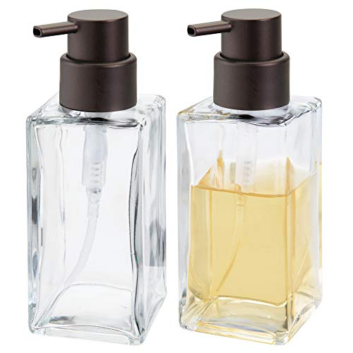mDesign Square Glass Refillable Liquid Soap or Sanitizer Dispenser Bottle with Rustproof Plastic Pump Head for Bathroom Vanity, Kitchen Sink, Countertops - Holds 14 oz, 2 Pack - Clear/Bronze