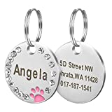 Didog Stainless Steel Custom Engraved Pet ID Tags with Pretty Paw Print Fits