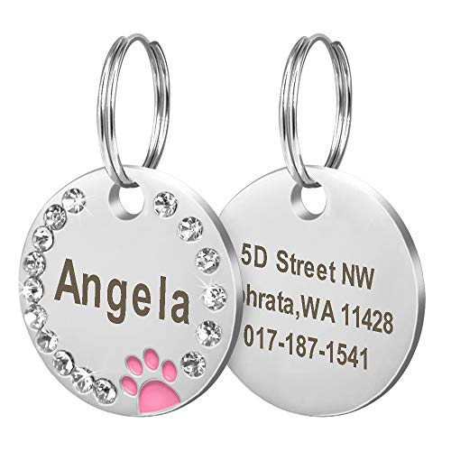 Didog Stainless Steel Custom Engraved Pet ID Tags,Round Crystal Rhinestones Tags with Pretty Paw Print,Double-Side Laser Engraving Tags Fit Small Medium Large Dogs and Kittens,Pink