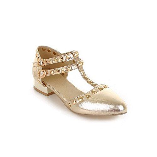 bout doré en Sandales à bout pointu verni rivet pointu à VogueZone009 cuir et à talons pour femmes avec wpRfq0