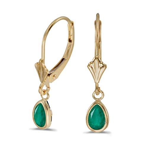 FB Jewels Solid 14k Yellow Gold Dangle Genuine Green Birthstone Pear Emerald Bezel Lever-back Earrings (2/3 Cttw.) ()