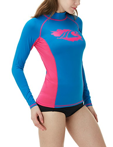 TSLA Women's UPF 50+ Slim-Fit Long Sleeve Athletic Rashguard, Basic Print(fsr26) - Royal Blue & Magenta, X-Large.