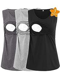 5f5046a2717dc Women s 2 Layers Comfy Nursing Tank Tops Mama Sleeveless Maternity and  Breastfeeding Shirts 3 Pack