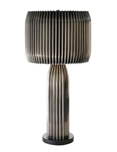 Silver Accent Lamp Pleated Shade - Luxe Round Pleated Silver Nickel Table Lamp | Modern Metal Shade Granite Base