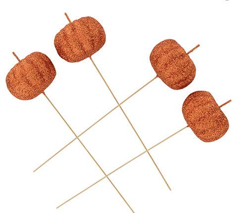 Fall Glitter Pumpkin Decorative Picks for Your Fall Decorating 2 Packs of 4 for a Total of 8 Pumpkins.