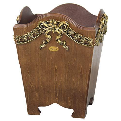 - Uniquewise QI003198 Elegant Wood Wastebasket/Trash Bin with Gold Bow 9.3in. W x 9.3 in. D x 12in. H Walnut