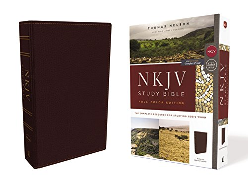(NKJV Study Bible, Bonded Leather, Burgundy, Full-Color, Comfort Print: The Complete Resource for Studying God's Word)