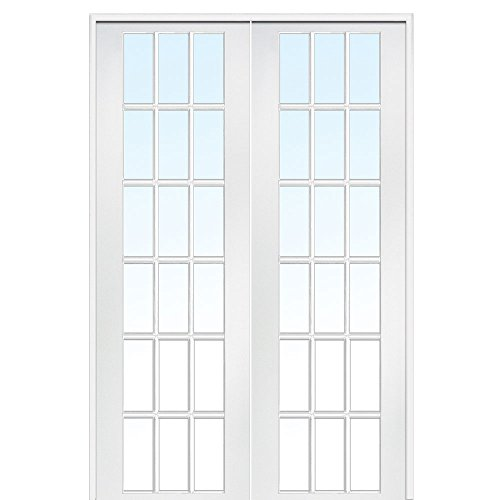 National Door Company Z020035BA Primed MDF 18 Lite Clear Glass, Prehung Interior Double Door, 72'' x 96'' by National Door Company