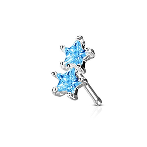 Prong Set Twin Star CZ FifthCue Cubic Zirconia Nose Bone Stud 316L Stainless Steel (Aqua Cubic Zirconia Star)