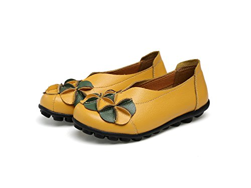 Verocara Womens Leather Flower Flat Casual Shoes Driving Loafers Yellow 62tmMvl5
