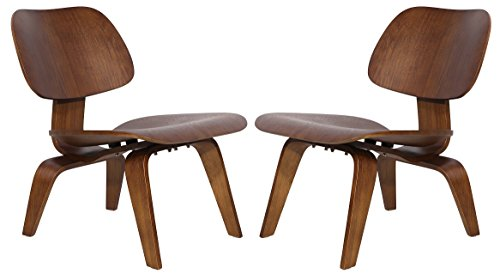 MLF Molded Plywood Lounge Chair (Set of 2/4/6)11-ply Durable Hardwood Seat & Back, 15-ply Solid Legs & Back Brace. Rubber Shock Mounts. Comfortably Fit the Contours of Your Body.(Set of 2)Light Walnut