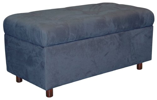 Belden Tufted Storage Bench by Skyline Furniture in Lazuli Blue Micro-suede Custom Upholstered Ottomans