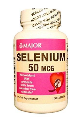 MAJOR SELENIUM 50MCG TABS SELENIUM-50 MCG Lt Brown 100 TABLETS UPC 309043162608 (Selenium Tablets 50 Mcg)