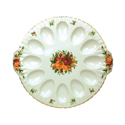 (Royal Albert Old Country Roses Holiday 11-Inch Deviled Egg Dish)
