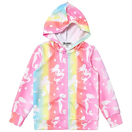 Mermaid Hoodie for Girls Sweatshirts Zip Up Jacket Fall Winter Clothes 6t 7t