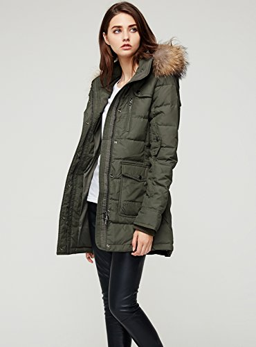 Escalier Women`s Down Coat With Raccoon Fur Hooded Winter Jacket Army Green XL by Escalier (Image #5)