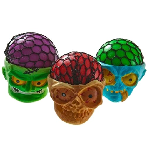 (3) Squishy Skull Monster Mesh Stress Balls for Kids Whats - Ball Skull Squishy