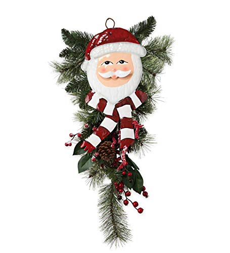 Plow & Hearth Holiday Door Swag with Santa Face - Approx. 27.5 L x 13 W (Home Hearth & Evergreen)