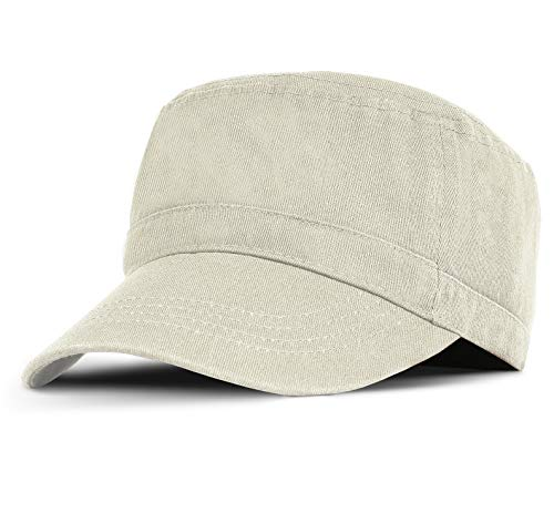 Military Cadet Cap Washed Cotton Twill Plain Low Profile Army Hat with Adjustable Strap Flat Top Baseball Golf Cap for Men Women