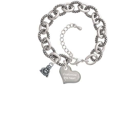 Mini Buddha Custom Engraved Heart Diana Charm Bracelet