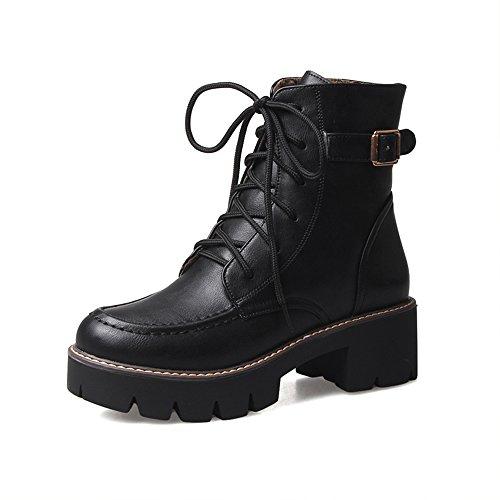 FUFU Damenschuhe PU Winter Komfort Stiefel Chunky Heel runde Kappe für Casua Beige Schwarz Braun 1.97in 5cm Schwarz