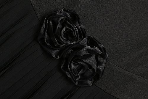 ACEVOG Damen Chiffonkleid Wasserfallkragen Partykleid Elegant Knielang Ärmellos Mit Blumen