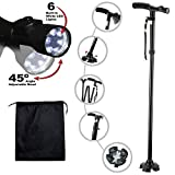Kitchen Krush Travel Adjustable Folding Canes and Walking Sticks for Men and Women with Led Light and Cushion Handle for Arthritis Seniors Disabled and Elderly Best Mobility Aids Cane