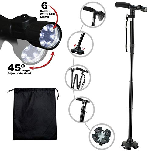 (Kitchen Krush Travel Adjustable Folding Canes and Walking Sticks for Men and Women with Led Light and Cushion Handle for Arthritis Seniors Disabled and Elderly Best Mobility Aids Cane)