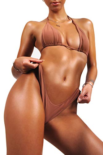 sofsy Bikini Swimsuit for Women Bathing Suit Two Piece Set Swimwear Tie Triangle Top & High Cut Bottom Sexy Nude Burnt Orange Size 4-6 Small - Launch 4 Piece