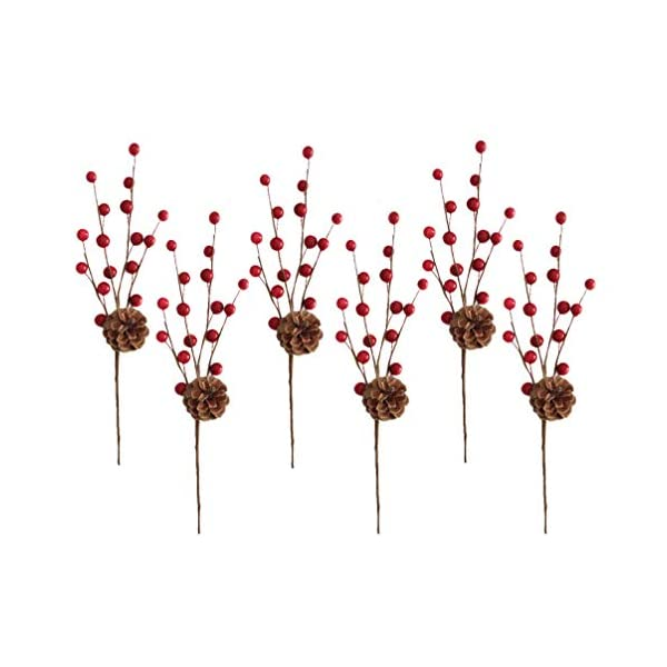 Holibanna 6pcs Artificial Pine Tree Stems Pine Cones Picks Red Berry Christmas Tree Spray for Holiday Xmas Decorations Wreaths Flower Arrangements
