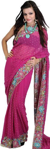 Crewel Embroidered Flowers (Exotic India Fuchsia-Red Wedding Sari with Crewel Embroidered Flowers and Sequin)