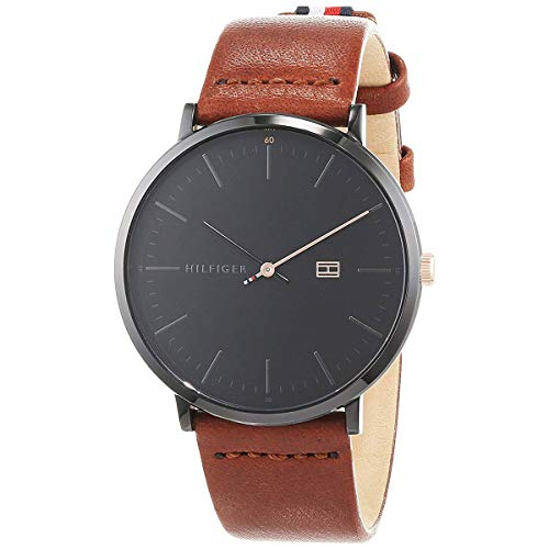 Tommy Hilfiger Men's James Brown Leather Band Steel Case Quartz Black Dial Analog Watch 1791461