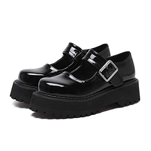 Women's Jane Comfort Buckle Round Black Mary Oxfords Shoes Heel Toe Shoes DANDANJIE Flat vx8EgZdqdw