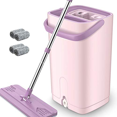 Vivian Yang Mop Bucket System, Home Flat Mop Wash and Dry System Easy Self Wringing Dust Mops with 4 Microfibre Pad for All Floor Cleaning,Pink