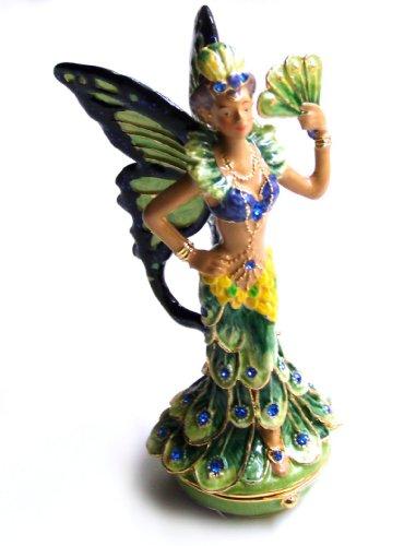 Fairy Jeweled Box (3.25 Inch Peacock Dressed Fairy Jeweled Pill Box Statue Figurine)